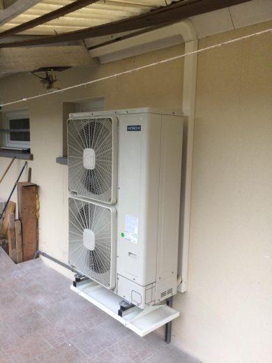Groupe exterieur PAC air-eau avec bac récupération